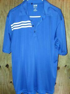 Adidas-Climacool-Mens-Medium-Blue-Short-Sleeve-Golf-Polo-Shirt