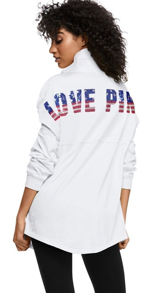 VICTORIA'S SECRET PINK AMERICA PATRIOTIC STAR FLAG BLING QUARTER SNAP SWEATSHIRT
