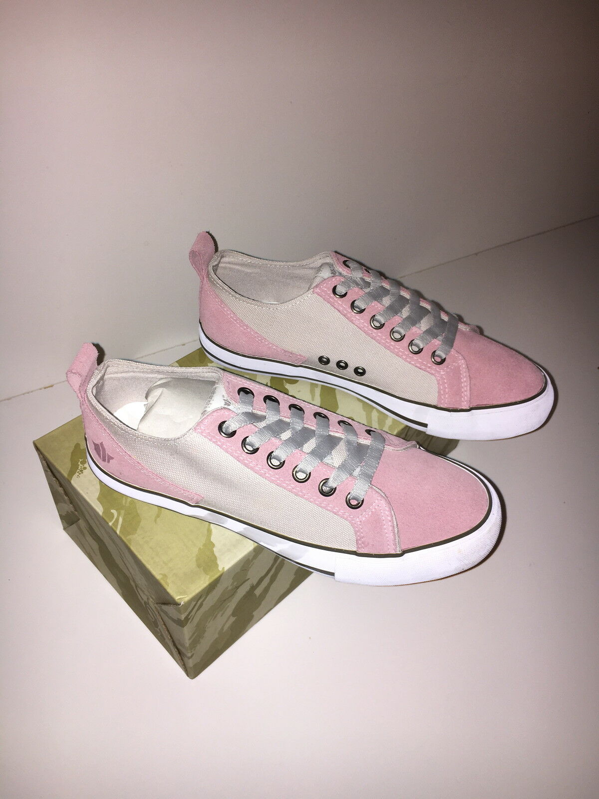 MAHARISHI WOMENS SUEDE AND CANVAS DAY SHOES IN DUSTY PINK & STONE