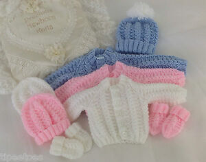 DK-amp-Aran-Knitting-Pattern-54-TO-KNIT-Baby-Cardigan-Hat-amp-Mittens-in-3-Sizes