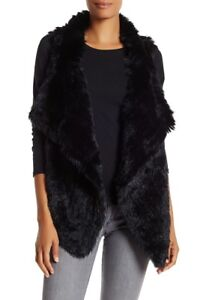 Premise-Rabbit-Fur-Trim-Knit-Vest-Black-Medium-NWT