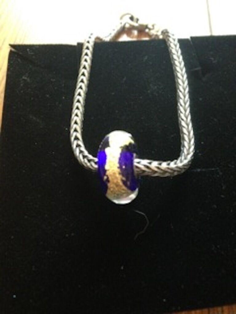 Trollbeads argentoo Sterling Braccialetto Doppia Fibbia Lock Lock Lock & chakra della gola fascino nuovo e2810a