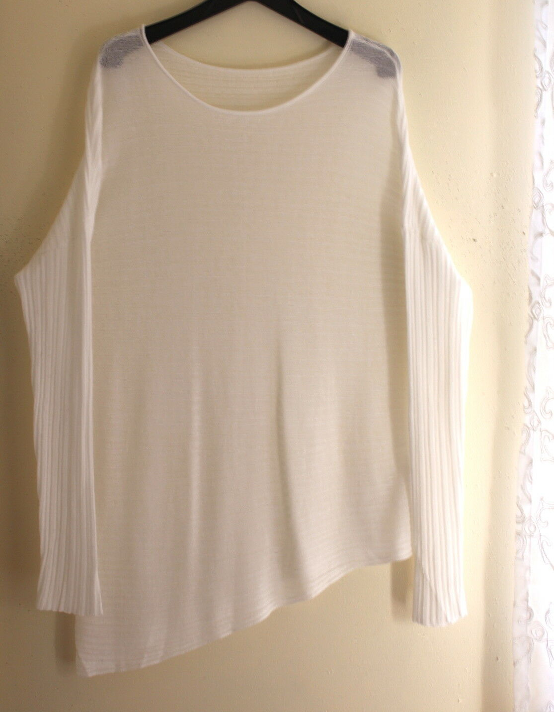 Eileen Fisher -Sz XL Weiß Asymmetrical Tencel Ribbed Long Lagenlook Sweater Top
