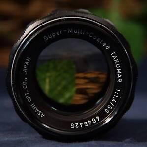 Details about Nice  ASAHI Opt Co  Pentax Super-Multi-Coated Takumar 50mm  f1 4 M42 Mount Lens