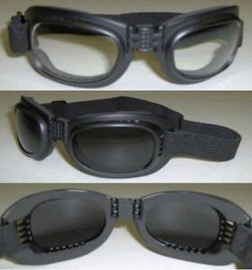 d0f5e11cb1 Image is loading FOLDING-Motorcycle-Goggles-glasses-1-SMOKE-amp-1-