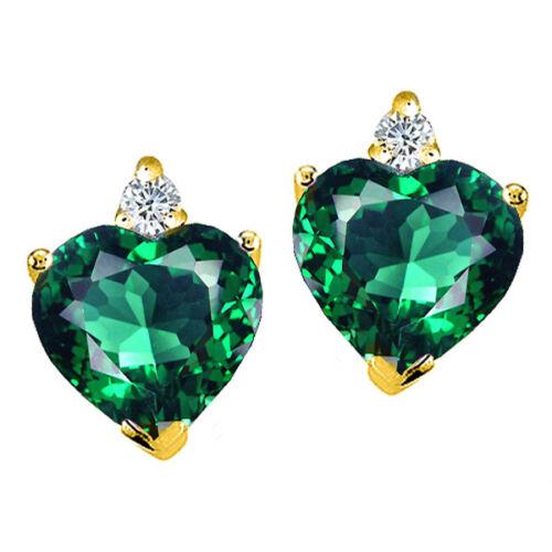 2.03 CT Chaussures Femme élégante 14K Solid Gold Heart Shape Emerald Clous D/'Oreilles