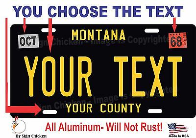 CUSTOM PERSONALIZED ALUMINUM BICYCLE MINI STATE LICENSE PLATE-MONTANA 2010
