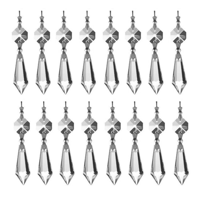 50PCS LARGE CLEAR CHANDELIER GLASS CRYSTALS LAMP PRISMS PARTS HANGING DROPS 55MM