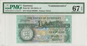 Guernsey 2013 1 Pound PMG Certified Banknote UNC 67 EPQ Superb Gem 62 TDLR