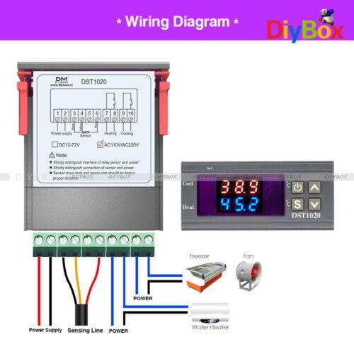 Digital Dual Display Thermostat Temperature Control DS18B20 DST1020 AC 110-230V