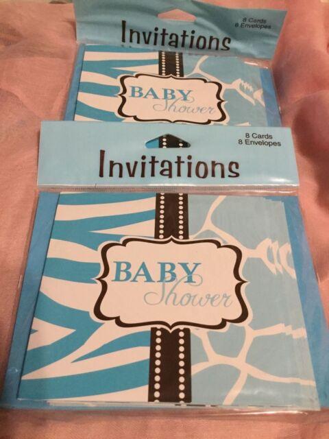 Creative Converting Wild Safari Blue Baby Shower Invitations Set Of