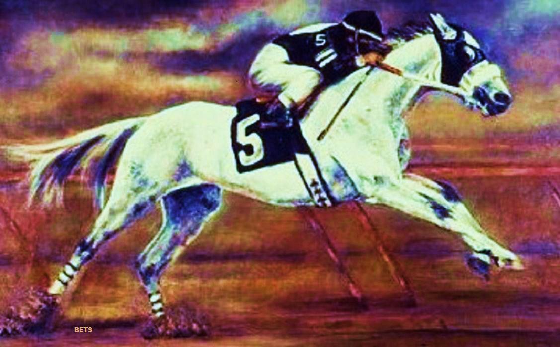 HORSE PRINT Giclee RACE Art RACEHORSE artist BETS 7 COLORS print size 14 X 20