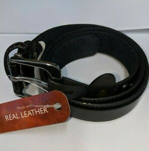 "1.25/"" Wide Made by New Forest Belts Men/'s Plain Black Leather Trouser Belt"