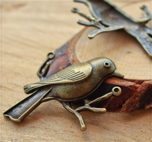 2x XL metal colgante Charm conector joyas DIY bricolaje pájaro bronce 37x49mm