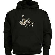 Fish bones hoodie Men's size graphic hooded sweatshirt fish bone sweatshirt