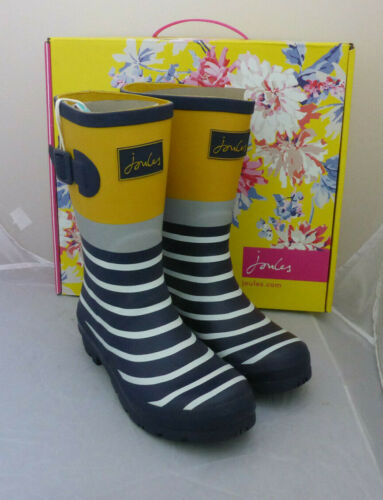 Joules Molly Welly Bleu Marine Engineered Stripe Wellington Wellies Femme Boîte Taille 3