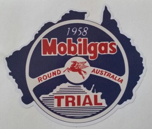 "MOBILGAS /""1958 TRIAL ROUND AUSTRALIA/"" SERVICE STATION PROMO VINYL DECAL STICKER"