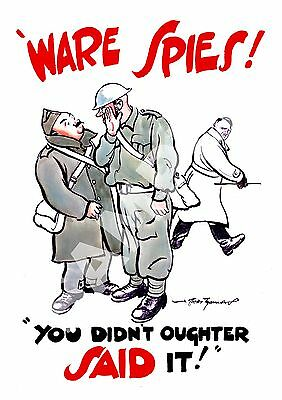 Vintage wartime propaganda Ware Spies Poster reproduction.