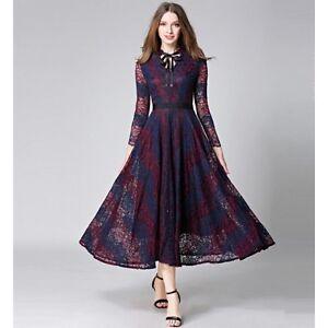 Elegante-abito-morbido-donna-viola-pizzo-raffinato-senza-maniche-comodo-3391