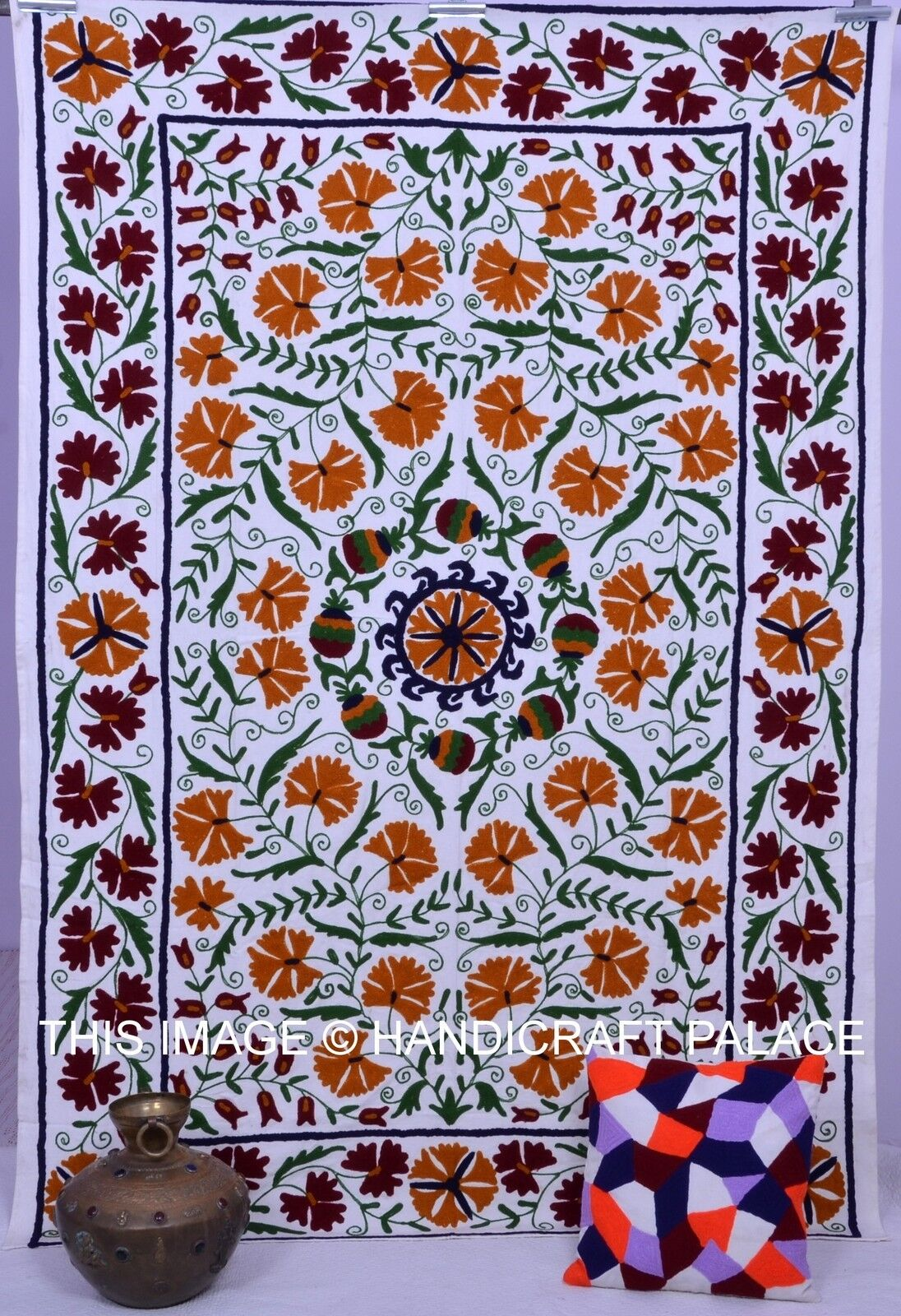 Uzbek Indian Cotton Suzani Embroidery Bedcover Floral Bedspread Twin Tapestry