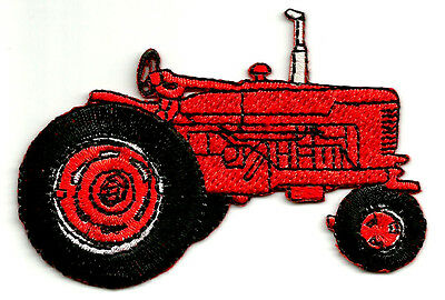 Farm - Tractor - Farmer - Red - Fully Embroidered Iron On Patch