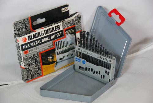 Black /& Decker HSS Metal Drill Bit Set 14 Piece Including Metal Case