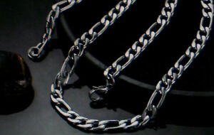Damen-und-Herren-Edelstahl-Figaro-Halskette-Kette-Schlicht-Neu-1123