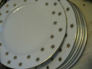 Vtg-GOLD-STAR-AA-AMERICAN-ATELIER-Dinner-Plates-10-5-034-Party-Time-Fine-China-Xmas