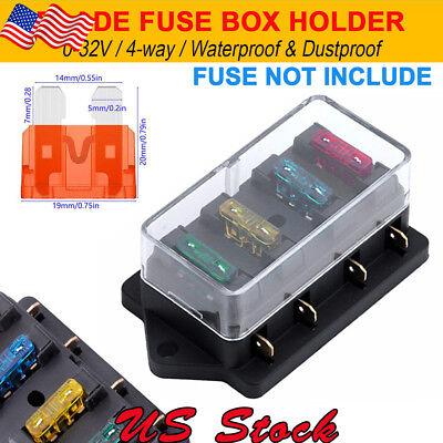 12V 24V 4 Way Heavy  Duty Fuse Holder Kit Car Circuit Standerd Blade   Box Block