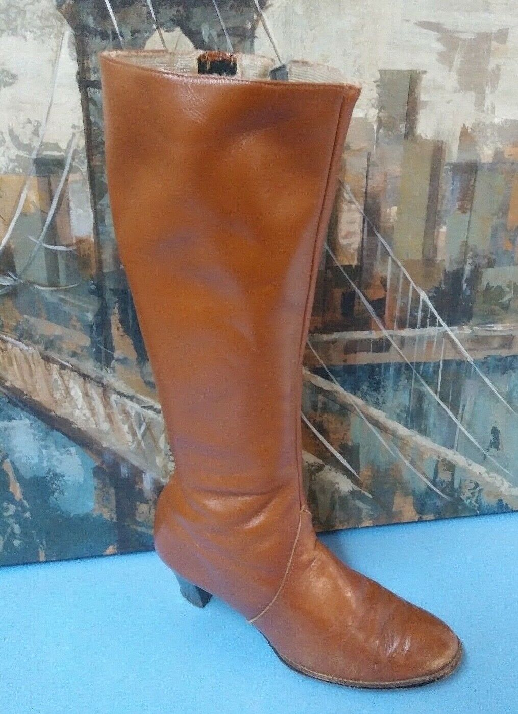 Vintage Womens Leather Tall Fashion Boots Size 8.5 B