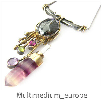 Temperamentvoll Modernist Silber Collier Halskette Bergkristall Amethyst Florit Peridot Granat