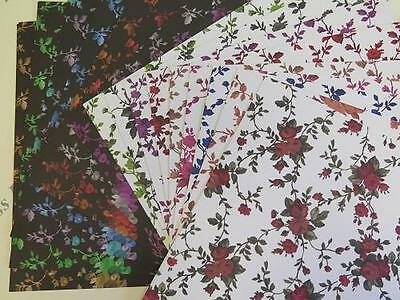"""Leafy Flower Backing Paper 1-Sided 12/""""x12/"""" Scrapbooking 120gsm x 75 Sheets AM653"""