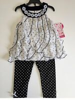 Girls Young Hearts 2 Piece Set White Ruffle Swing Top & Black Polka Dot Pants
