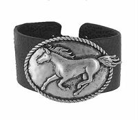 Western Running Horse Concho Black Leatherette Bracelet