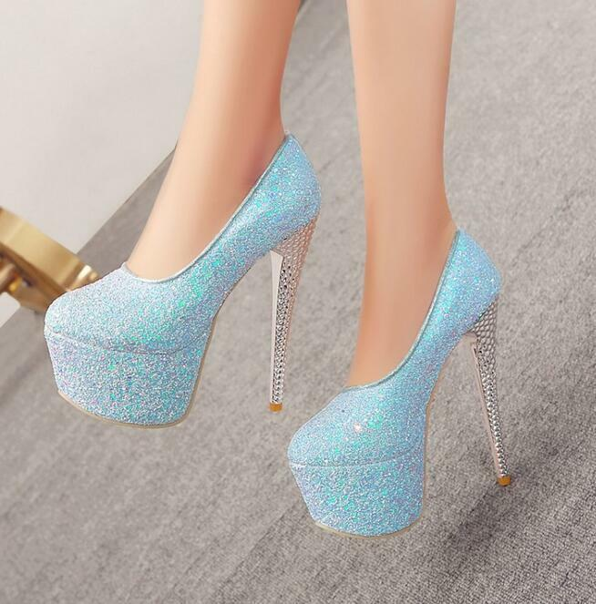 Women 16CM Stilettos High Heel Sequins Platform Shoes Pumps Nightclub Sexy shiny