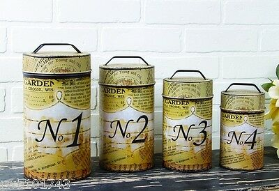 Typography Food Safe Tin Canister Set rustic vintage newsprint home garden decor