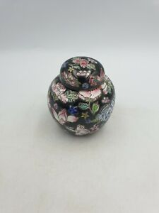 CHINESE PORCELAIN SMALL LIDDED GINGER JAR POT HAND PAINTED MULTI FLORAL ON BLACK