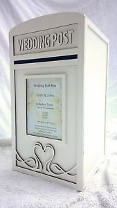 Wedding-Card-Post-Box-amp-Personalised-Royal-Mail-Sign-Large-White-Postbox