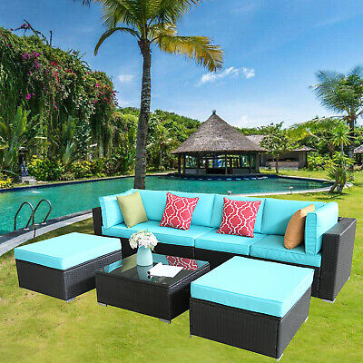 HTTH 7 PCS Outdoor Patio Furniture Sectional Sofa Set Expresso Wicker  Cushioned 843438155368   eBay