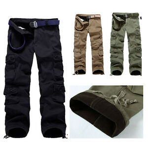 herren thermohose cargo winter hose outdoor fleecefutter pants gef ttert 29 38 ebay. Black Bedroom Furniture Sets. Home Design Ideas
