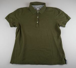 Tommy Hilfiger Damen Poloshirt Gr.M grün uni -S689