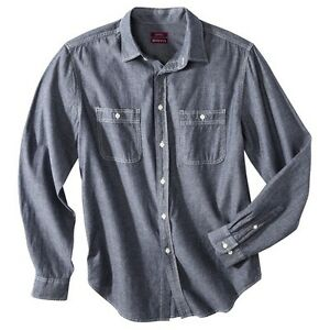 Merona-Men-039-s-Tailored-Fit-Chambray-Button-Down-Boy-Blue