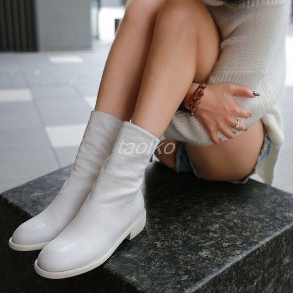 Les femmes en cuir véritable Arrière Fermeture Éclair Bottines Chelsea Chunky Talons Motard Chaussures Taille