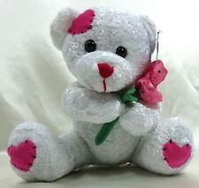 "10"" Valentine Teddy Bear Plush Stuffed Animal w/ Rose Kuddle Me Toys New age 3+"