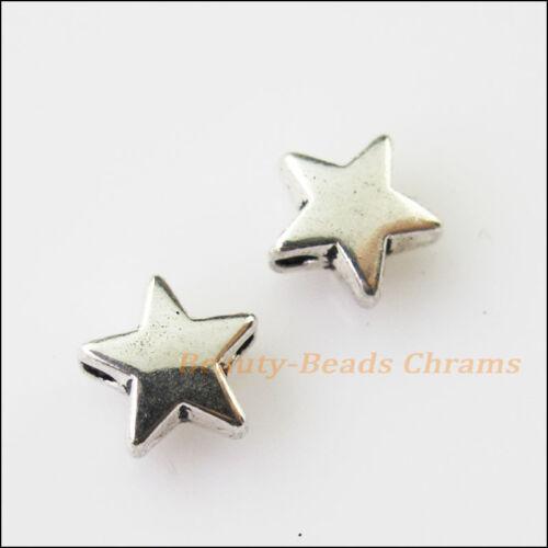 35Pcs tono plata antiqued había diminuto espaciador granos encantos 7.5mm Suave Star