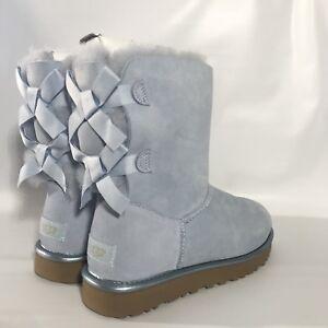 fd6aec95e14 Details about New in box UGG Bailey Bow II Metallic SKY BLUE SHEEPSKIN  BOOTS, size 8 women's