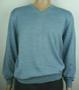 Men-039-s-nuevo-de-Christian-Berg-mezcla-de-lana-con-cuello-en-v-sueter-Jumper-Tamano-Pequeno-Azul