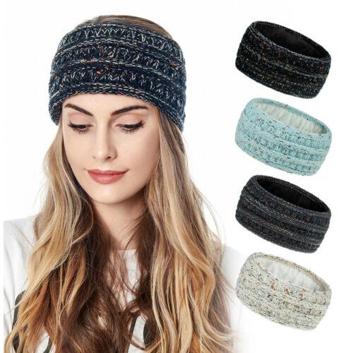 Winter Ear Warmer Headbands Women Ear Muffs Soft Fleece Lined Knitted Headband ~