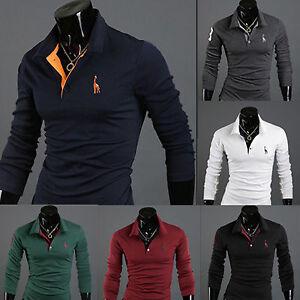 Neu-Herren-Polohemd-Freizeit-Poloshirt-Langarm-Shirt-Slim-Fit-Hemd-Gr-M-L-XL-XXL