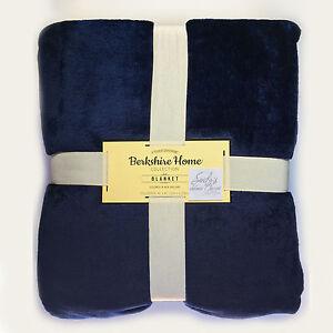 Berkshire-NAVY-BLUE-Ultra-Plush-FULL-QUEEN-BED-BLANKET-Velvet-Soft-Fleece-90X90